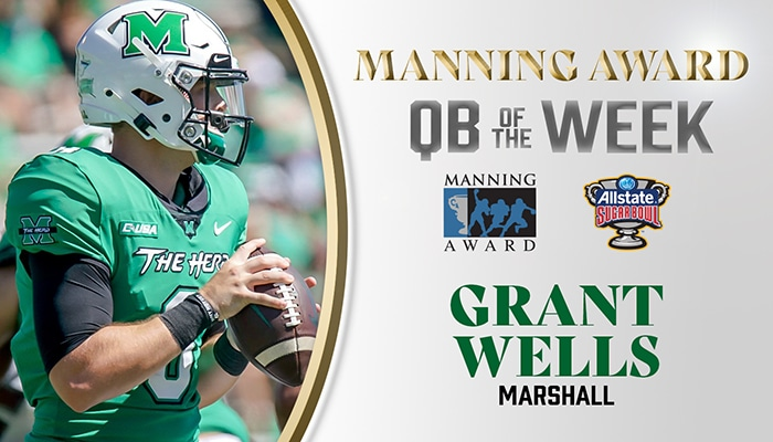 Marshall's Grant Wells Named Manning Award Quarterback of the Week